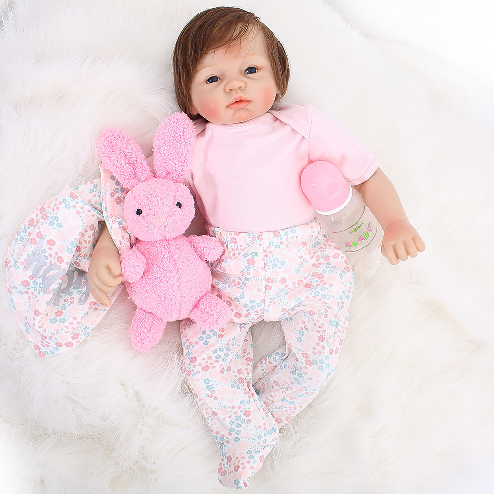 49cm Silicone Reborn Baby Doll with Pink rabbit Stuffed & Plush toy Kids Educational Gift for Girls/boys Baby Alive bebe reborn49cm Silicone Reborn Baby Doll with Pink rabbit Stuffed & Plush toy Kids Educational Gift for Girls/boys Baby Alive bebe reborn
