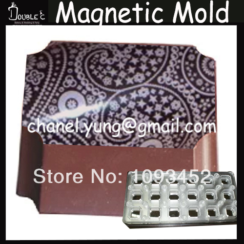 Free Shipping 18pc Rectangle Shape Chocolate Stainless Magnetic Mold With Chocolate Transfer Sheet Chocolate Tools