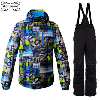 Ski Snowboard Jacket Suit For Men Winter Snow Wateproof Thick Skiing Snowboarding Hiking Coats Set Male Warm Ski Jacket&Pants