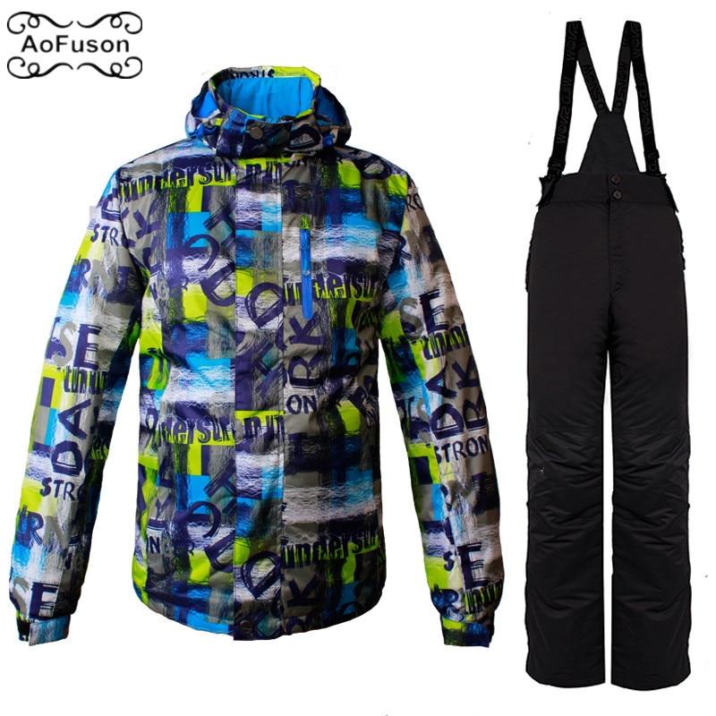 Veste de Ski Snowboard costume pour hommes hiver neige imperméable à l'eau épais Ski Snowboard randonnée manteaux ensemble mâle chaud veste de Ski & pantalon