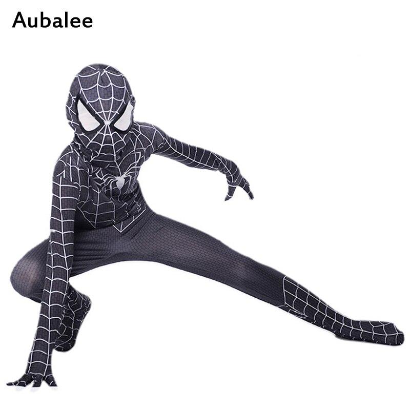 NEW Black Spiderman Boys Venom Costume Kids Superhero Cosplay Lycra Full Bodysuit Zentai Suit Halloween Child Fancy Dress 2018