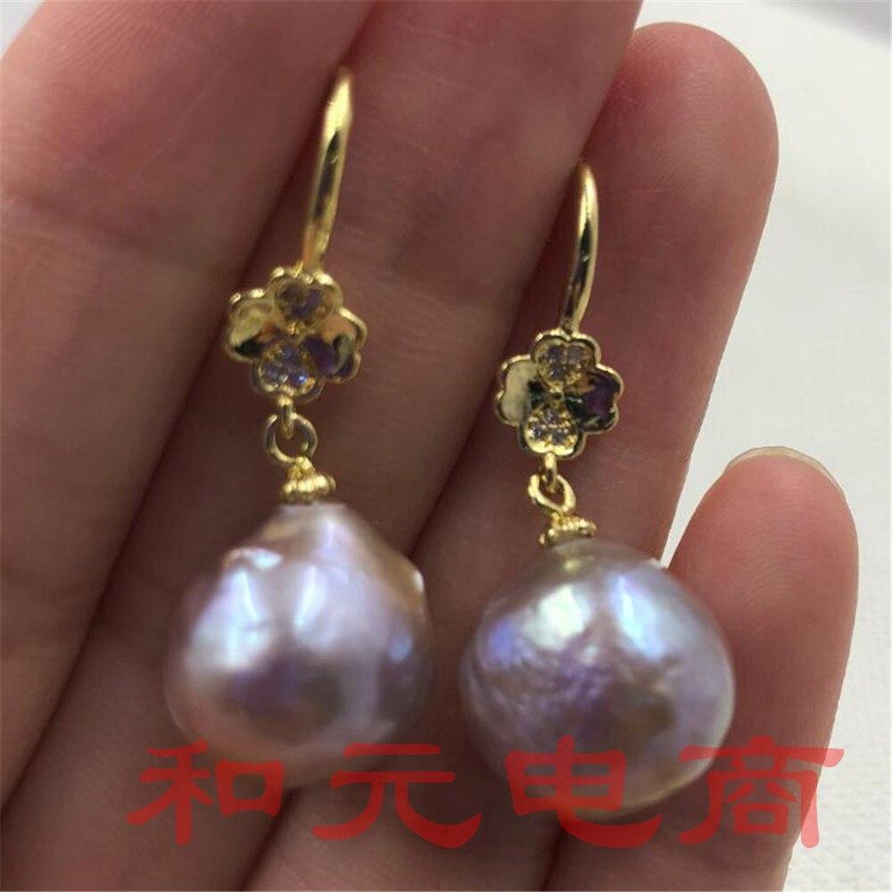 11-13 MM HUGE baroque south sea pearl earrings 18K GOLD dangler Mesmerizing