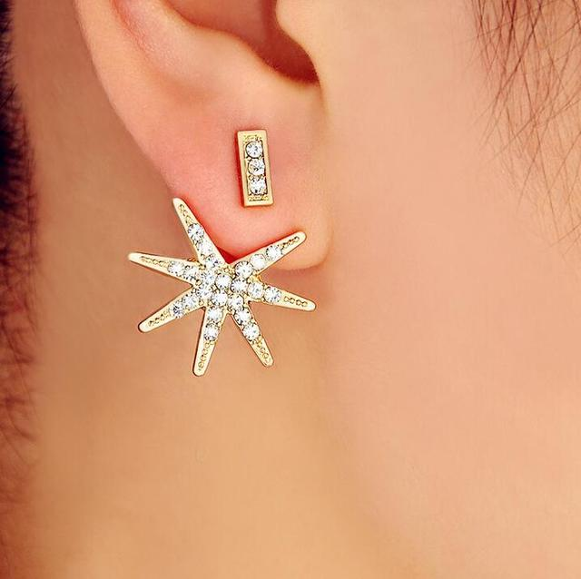 Trendy Jewelry Gold Color Hollow Out Crystal Leaf Stud Earrings Ear Cuff Clip For Women Jacket