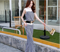 2015 Super quality latest style fashion stripes sleeveless summer elegant women long chiffon jumpsuit