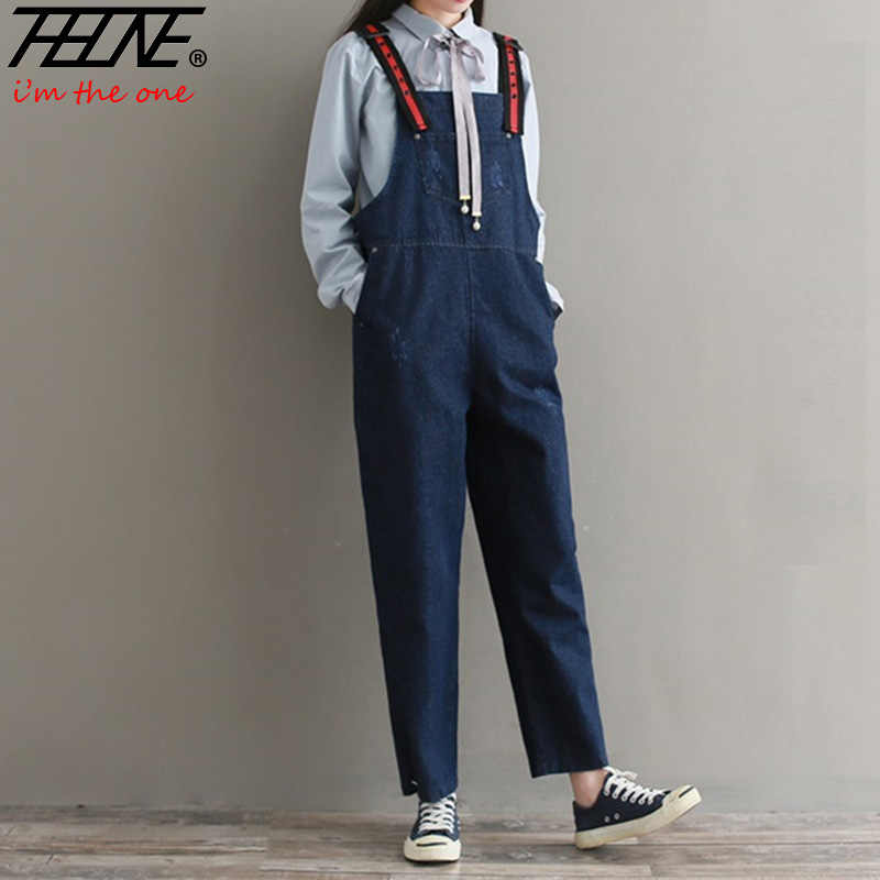 444abfa8f2a THHONE Spring Summer Jumpsuit Jeans Women Rompers Suspender Ripped Denim  Pants Long Casual Overall Bodysuit Femme