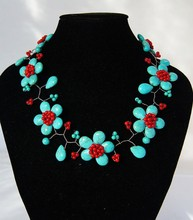 2017 Promotion Rushed Trendy Women Stone Plant Collares Maxi Necklace Collier Beadwork Turquoises With Necklace,beaded Jewelry(China)