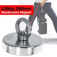 230KG D80mm Neodymium Recovery Fishing Magnet Metal Sea River Treasure Magnet Super Strong Round Ring Hole Powerful Magnetic