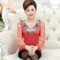 Nueva alta calidad de la manera de las mujeres camiseta de la gasa de manga larga camisa de gasa madre clothing señora floral pullover top