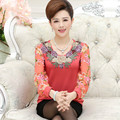 new high quality fashion women t-shirt Chiffon long sleeve shirt chiffon mother clothing lady Floral pullover top