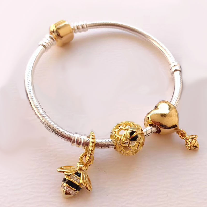 Elegant Lovely Golden Color Series Bee Design European Style DIY Charm 925 Sterling Silver Charm Bracelet rock style star bee heart faux crystal charm bracelet for women