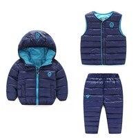 2019 Winter Kids Clothing Sets Warm Hooded Jackets Sets Baby Girls & Baby Boys Cotton Suit 3pcs Coats Vest Pants Overcoat 2 6T