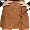 2017 Spring Sexy Vintage Woman's Midi Skirts With Plus Size Of The Buttocks Deer Skin Fashion Solid Color Women Mini Skirt D052