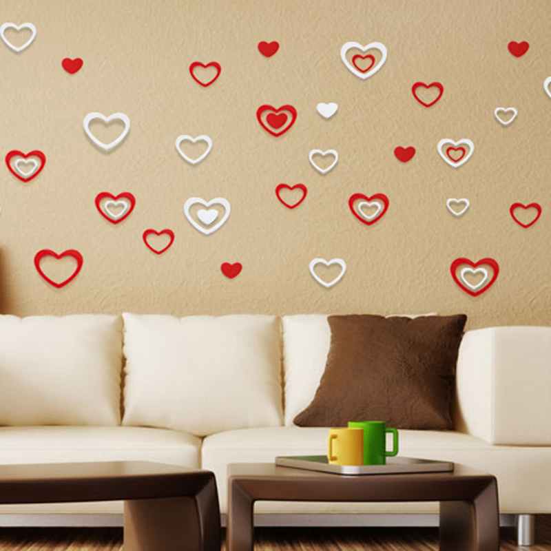 5pcs /set 3D PVC Self Adhesive Wall Stickers Simple Atmospheric Heart  Shaped Decorative Stickers Backdrop Wall Stickers E In Wall Stickers From  Home ...