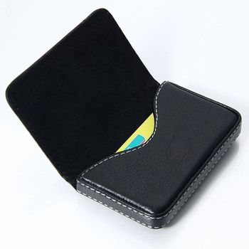 ISKYBOB Fashion Leather Business ID Credit Card Holder Case Wallet with Magnetic Shut Passport & ID Holders