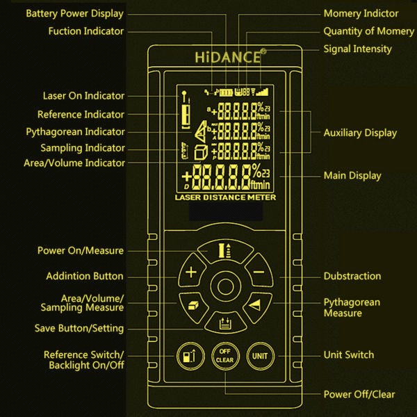 """""""HiDANCE"""" lazerio diapazono ieškiklio statybiniai įrankiai - Matavimo prietaisai - Nuotrauka 5"""