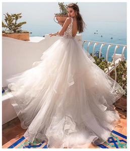Image 2 - LORIE Princess Wedding Dress V Neck Appliqued with Flowers A Line Tulle Backless Boho Wedding Gown Free Shipping Bride Dress
