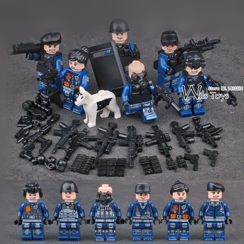 6pcs City Police MILITARY WW2 Weapon SWAT Soldiers Army Navy Seals Team Mini Building Blocks Bricks Figures Toys Boys Children phalanx original blocks educational toys swat police military weapons gun model city accessories lepin mini figures