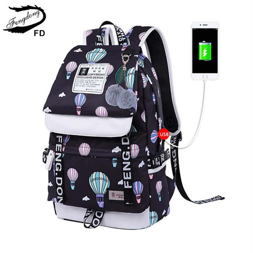 FengDong brand designer black laptop backpack women travel bags fashion ballon printing school backpack for girls female bag цены