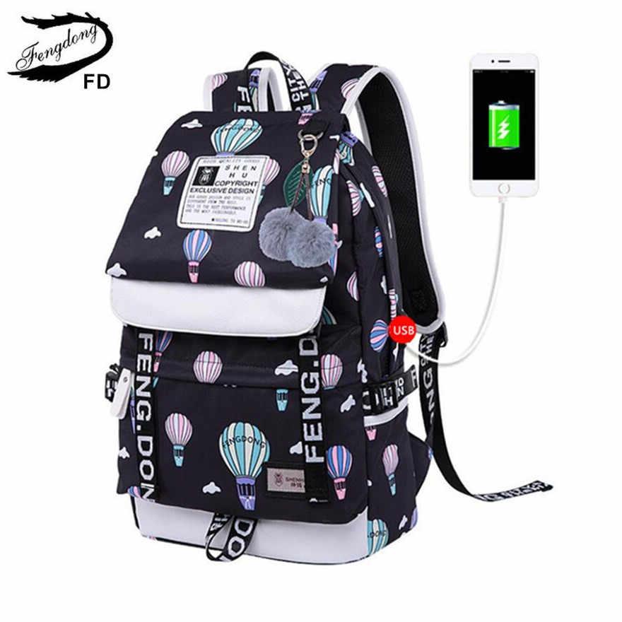 0ff3ad361b58 FengDong брендовые дизайнерские черный рюкзак для ноутбука женские дорожные  сумки моды баллон печати Школьный рюкзак для