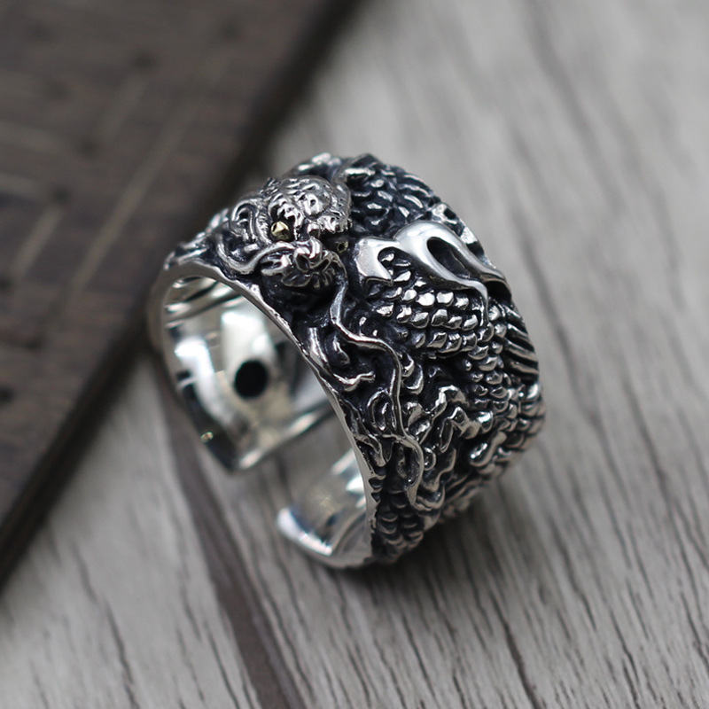 S925 Sterling Silver Jewelry Retro Personality Exaggerated Men Ring Ring Thai Silver Carved Dragon Pattern Wide Ring brand jewelry creative new flower can turn cactus exaggerated ring exaggerated fashion cute temperament ring