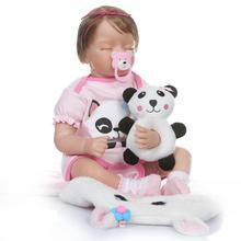 Boneca Reborn 22inch Closed Eyes Soft Silicone Vinyl Doll 55cm Baby Newborn Toys Juguetes Brinquedos