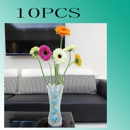 Free Shipping New 10Pcs/Lot PVC Unbreakable Foldable Reusable Plastic Flower Fishing Vase Home Decoration Wholesale/Retail