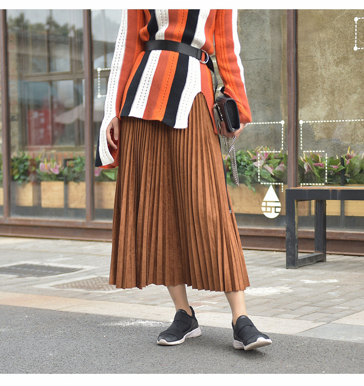 19 Two Layer Autumn Winter Women Suede Skirt Long Pleated Skirts Womens Saias Midi Faldas Vintage Women Midi Skirt 43