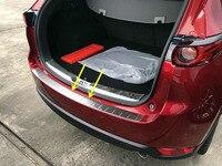 Car Styling 1 STÜCKE Edelstahl außen Heckstoßstange Schutzfolie Platte Für Mazda CX 5 CX5 2017 2018|Markisen & Schutzhütten|   -