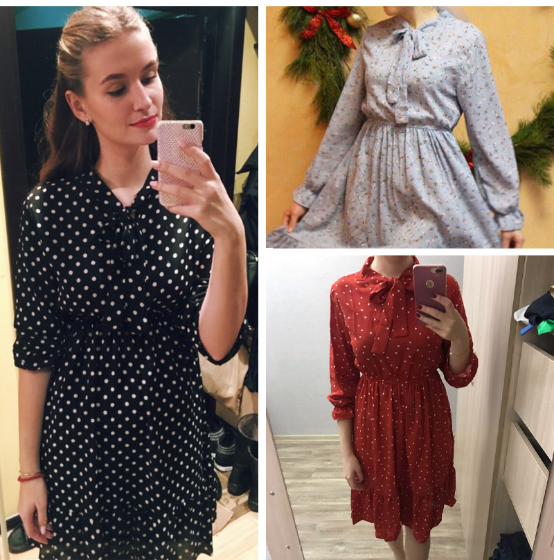 19 Autumn Winter Dress Women Chiffon Midi Casual Red Floral Long Sleeve Office Dress Polka Shirt For Ladies Dress Vestidos 2