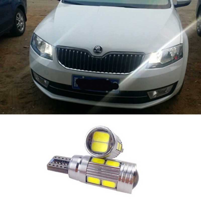 2x High Power 168 W5W T10 Led with Projector Lens Light Source Parking Led for skoda superb octavia a7 a 5 2 fabia rapid yeti 2 x t10 led w5w canbus car side parking light bulbs with projector lens for mercedes benz c250 c300 e350 e550 ml550 r320 r350