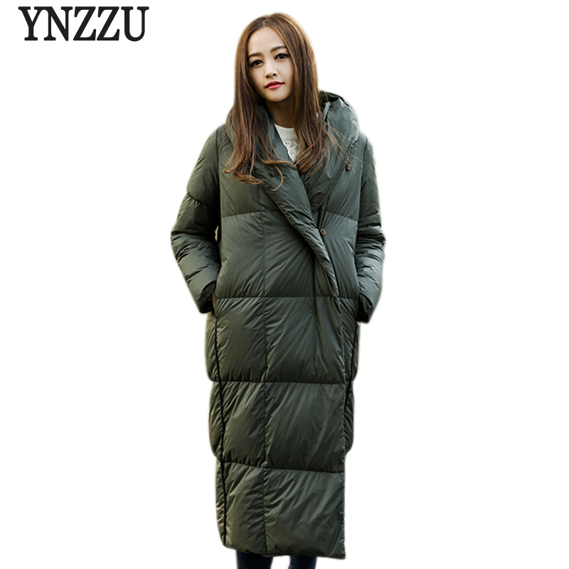 Brand Womens Down Jacket Long Plaid Solid Duck Down Coat 2018 Autumn Winter Jacket Warm Hooded Loose Outwear High Quality AO579