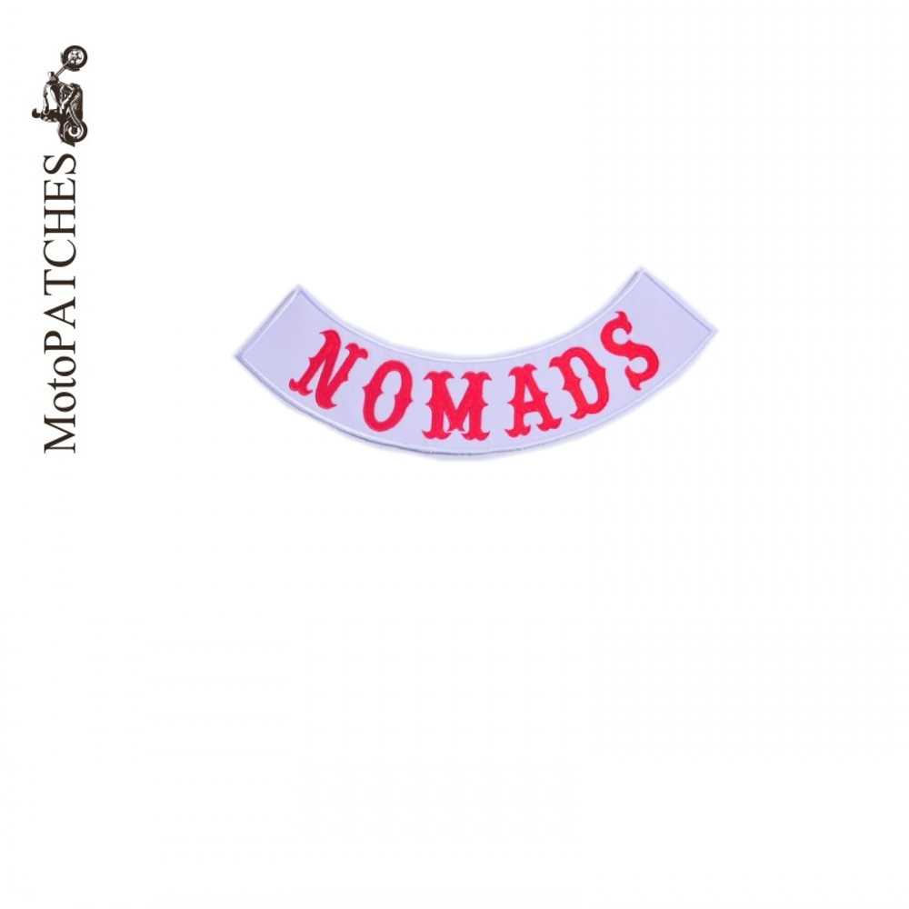 NOMADS Custom Bottom Rocker Red Font Embroidery Twill Biker Iron On Patches for Jacket Back Motorcycle Club MC DIY