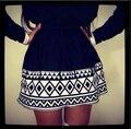 Nueva Primavera 2014 Las Mujeres Faldas Negro Blanco Diamante Jacquard Geométrico Faldas para las mujeres señoras de la Manera falda Shorts Falda