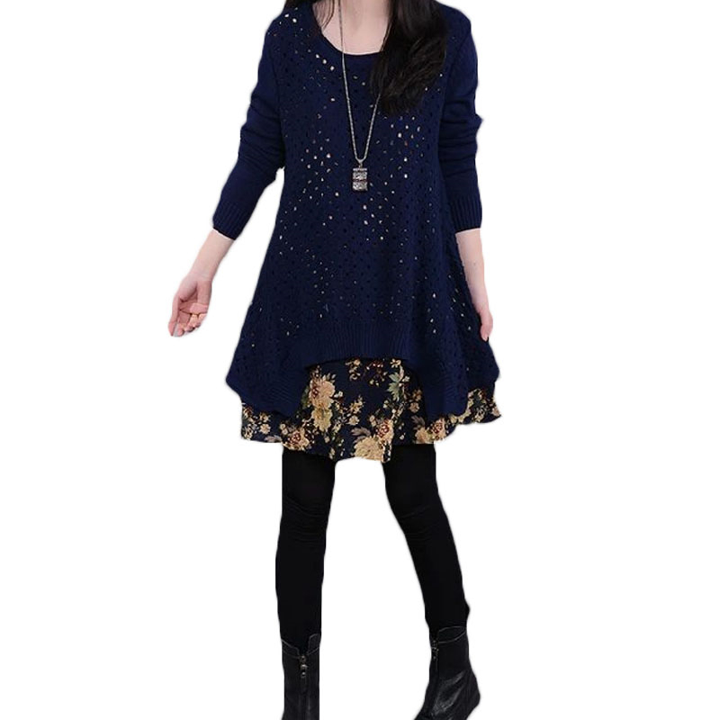 2018 Spring Autumn New Plus Size Knitted Dress Women Vintage Long Sleeve Floral Pleated Sweater Dress Suit Female Two Piece Set 2016 new spring autumn women floral printed knitted long dress sleeve female ladies plus size casual vestidos xxxxl 8968