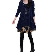 2018 Демисезонный новый плюс Размеры вязаное платье Для женщин в винтажном стиле, с длинным рукавом Цветочные плиссированные Платья-свитеры Костюм женский комплект из двух предметов