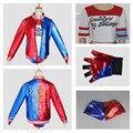 Бэтмен Харли Квинн Suicide Squad полный набор Косплей Костюм Женская Одежда вышивка Куртка + Рубашки + Шорты + Перчатки бэтмен пункт mujer