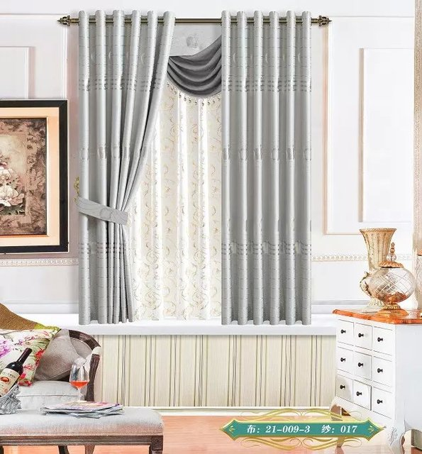 US $16.79 |Only Fabric Grey Apple flower Wide 210 CM curtains Fabric silver  Curtain Hotel living rooms bedroom Curtain Wholesale material-in Curtains  ...