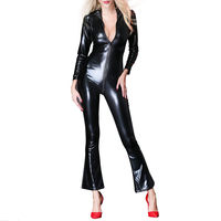 Sexy Womens Faux Leather Zipper Bodysuit Catsuit Fetish Female Long Sleeve Slim Tight Jumpsuit Wet look Nightclub Costume New
