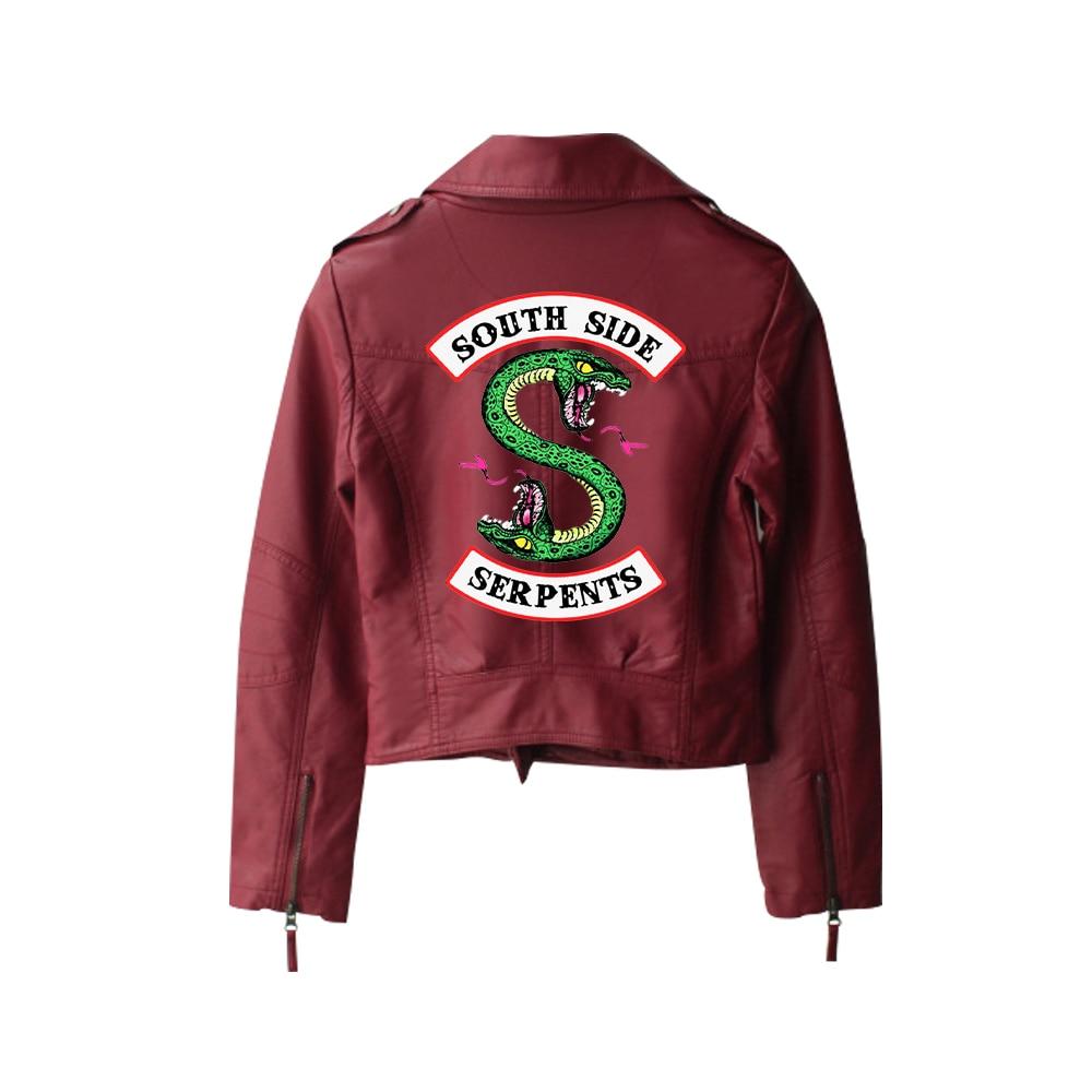 New 2019 Riverdale PU Printed Logo Southside Riverdale Serpents Jackets Women Riverdale Serpents Streetwear Leather Jacket 8