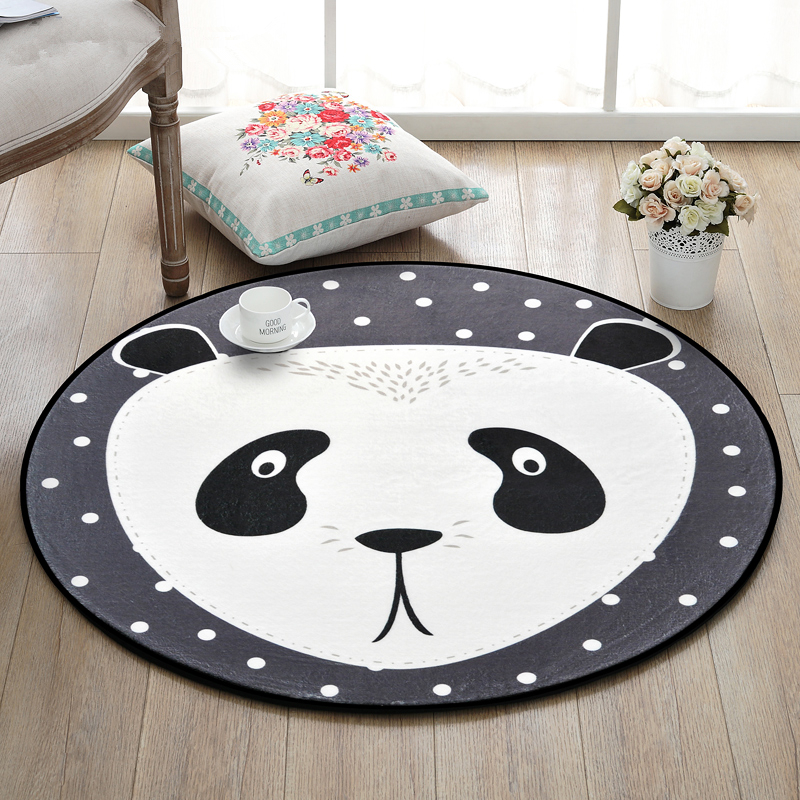 Panda chinois tapis ronds pour salon dessin animé tapis doux chambre d'enfants tapis mignons pour chambre ordinateur chaise Floro tapis/tapis