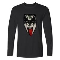 Kiss Gene Simmons T shirt Hot Men Spirnt Fashion Clothing Men's Long Sleeve T Shirt Cotton Casual T-Shirt Gene Simmons