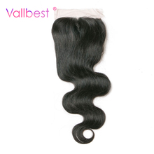 Vallbest Body Wave With Lace Closure 4X4 Human Hair Bundles 120% Density Natural Black 1B Medium Brown Free Part Baby Non Remy