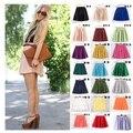 17 color de cintura alta mujeres faldas verano vestido de volantes mullido skater mini falda corta falda plisada de doble capa de vestido de fiesta de gasa falda