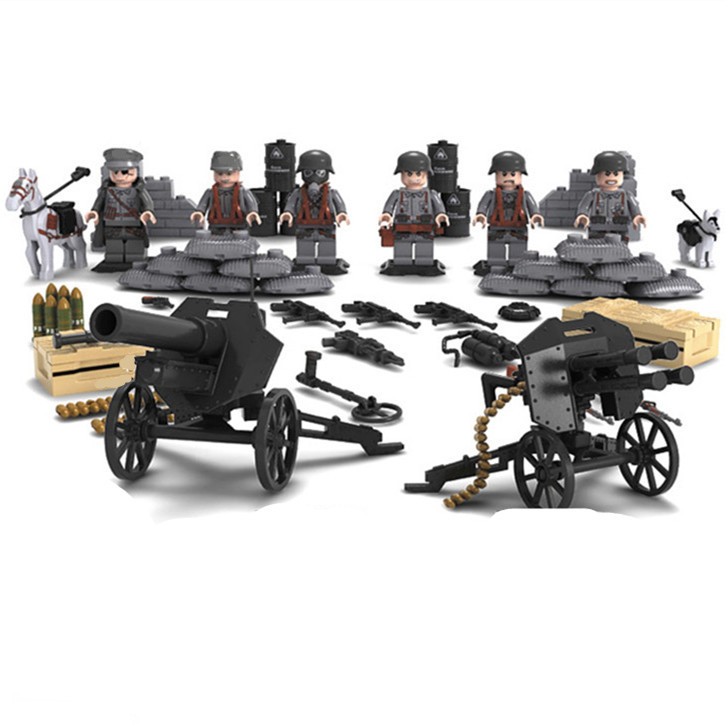 6pcs German Army MILITARY Weapons SWAT Forces Navy Seals Team Soldiers Building Blocks Bricks Figures Gifts Toys Boys Children military city police swat team army soldiers with weapons ww2 building blocks toys for children gift