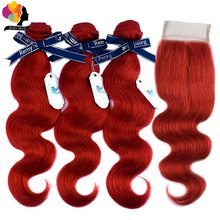 Remyblue Human Hair 99J Red Bundles With Closure