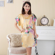 New Gold Women Faux Silk Robe Bath Gown Summer Short Sleeve Dress Print Sleepshirt Sexy Nightgown Flower Pajama One Siize S0125(China)