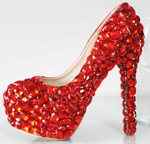 ФОТО Extra high 12CM heel red crystal wedding party shoes for woman big rhinestones TG572 handmade platforms female ladies party shoe