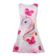 Girls' Sleeveless Unicorn Patterned Party Dress