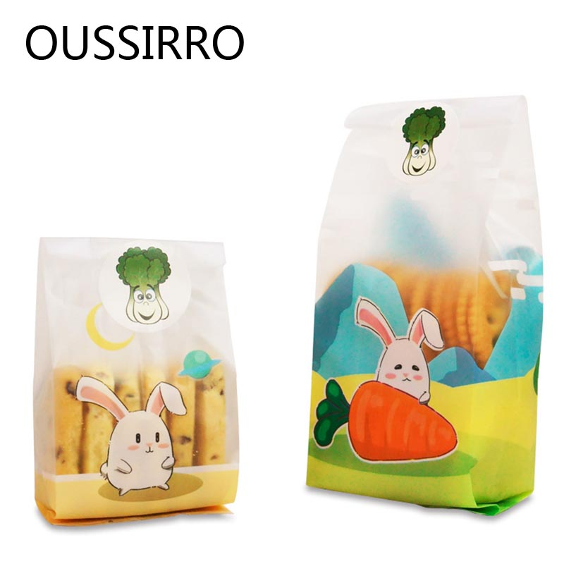 25Pc Long Ear Rabbit Plastic Cookie Bag Kawai Candy Cookies Plastic Gift Bag Happy Birthday Decoration Snack Nougat Packing Bags