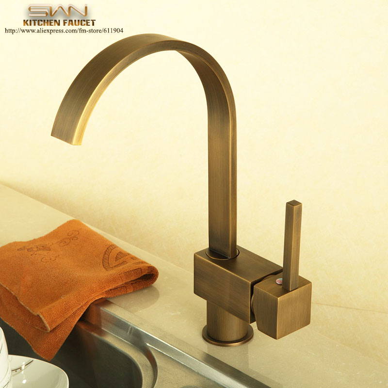 Kitchen Faucet Antique Brass Vessel Sink faucet Mixer Tap Cold Hot Water taps Swivel Spout Single Handle 2110701 golden brass kitchen faucet dual handles vessel sink mixer tap swivel spout w pure water tap